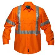 Prime Mover WWL3001X 100% Cotton Lightweight Hi Vis Button With Cross Back Tape L/S Shirt Orange