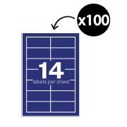 Winc Laser Labels 98 x 38 mm 14 Per Sheet Pack 100 Sheets