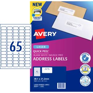 Avery Address Labels with Quick Peel for Laser Printers - 38.1 x 21.2mm - 1625 Labels (L7551)