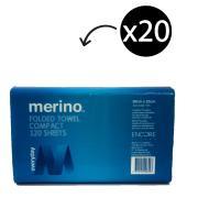 Merino Everyday Compact Hand Towel Interleaved 20 x 25cm 120 Sheet Carton 20