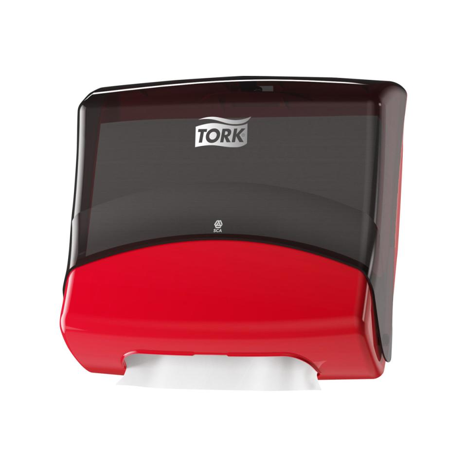 Tork 654008 Folded Dispenser W4 Red/Smoke