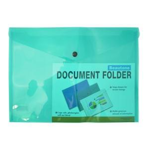 Bantex Document Folder A4 Button Green Pack 12 Image