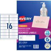 Avery Frosted Clear Address Labels for Inkjet Printers - 99.1 x 34mm - 400 Labels (J8562)
