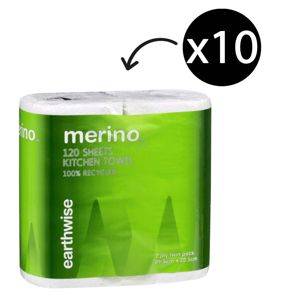 Merino Earthwise 1159 Kitchen Towel 2 Ply 120 Sheet Pack 2 Case 10