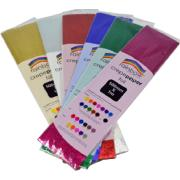 Rainbow Foil Crepe Paper 500mmx1m Assorted Colours Packet 6
