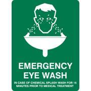 Brady 838677 Sign Emergency Eye Wash Vinyl 250H X 180W mm