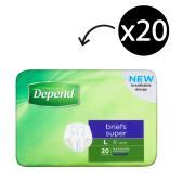 Depend Brief Super Unisex Large Pack Of 20