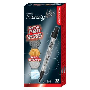 Bic Intensity Metal Pro Permanent Marker Bullet Black Box 12