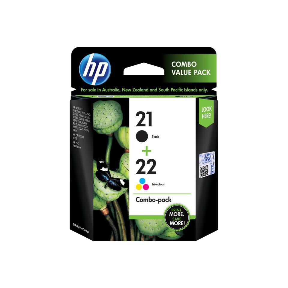 HP 21 Black & 22 Tri-Colour Ink Cartridge - CC630AA - 2-Pack