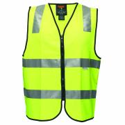 Prime Mover MZ102 High Visibility Zip Up Vest 3m Reflective Tape Yellow