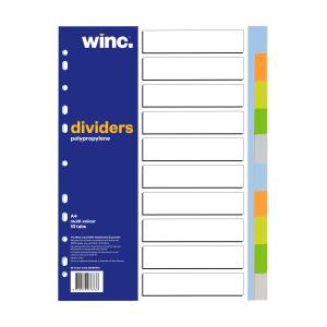 Winc Polypropylene Dividers Set A4 Assorted Colours 10 Blank Tabs