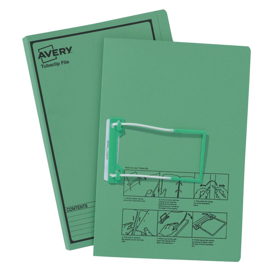 Avery Green Tubeclip File with Black Print - Foolscap - 355 x 241 mm