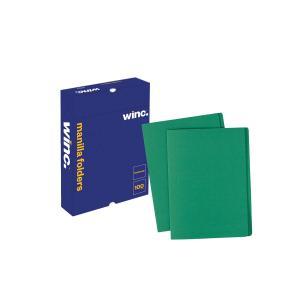 Winc Manilla Folder Foolscap Green Box 100