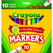 Crayola Classic Broadline Coloured Markers Assorted Pack 10