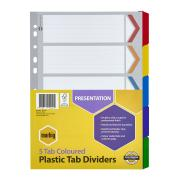Marbig Dividers Manilla Plastic Coloured Tab A4 White 5 Tab
