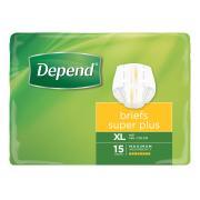 Depend 17400 Briefs Super Plus X Large Pack 15 Carton Of 4