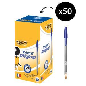 BIC Cristal Extra Life Ballpoint Pen Medium 1.0mm Blue Box 50