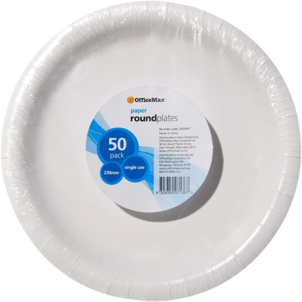 Officemax Round Paper Plate 230mm White Pack Of 50