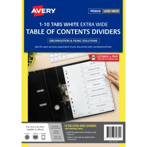 avery plastic pre printed dividers extra wide white 1 10 tabs