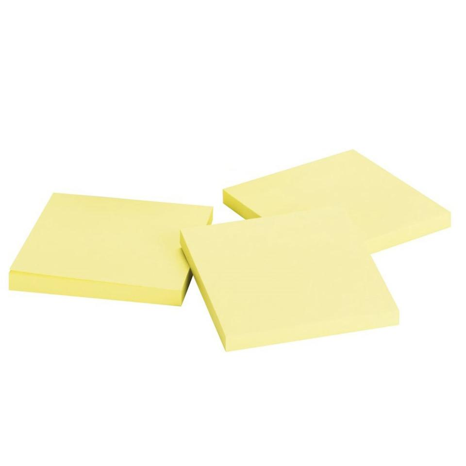 Nallawilli Office Wares Sticky Notes Yellow 76X76mm 100 Sheet Pad 12 Pack