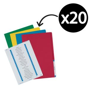 Avery Assorted Colours Manilla Folder with Labels - Foolscap - 355 x 241 mm - 20 Files