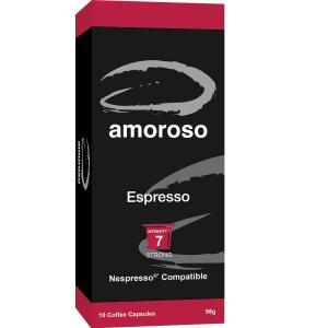 Amoroso Espresso Dark Roast Coffee Capsules Box 10