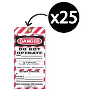 Brady 59390 2-part Lockout Tags Do Not Operate White/Black Pk25