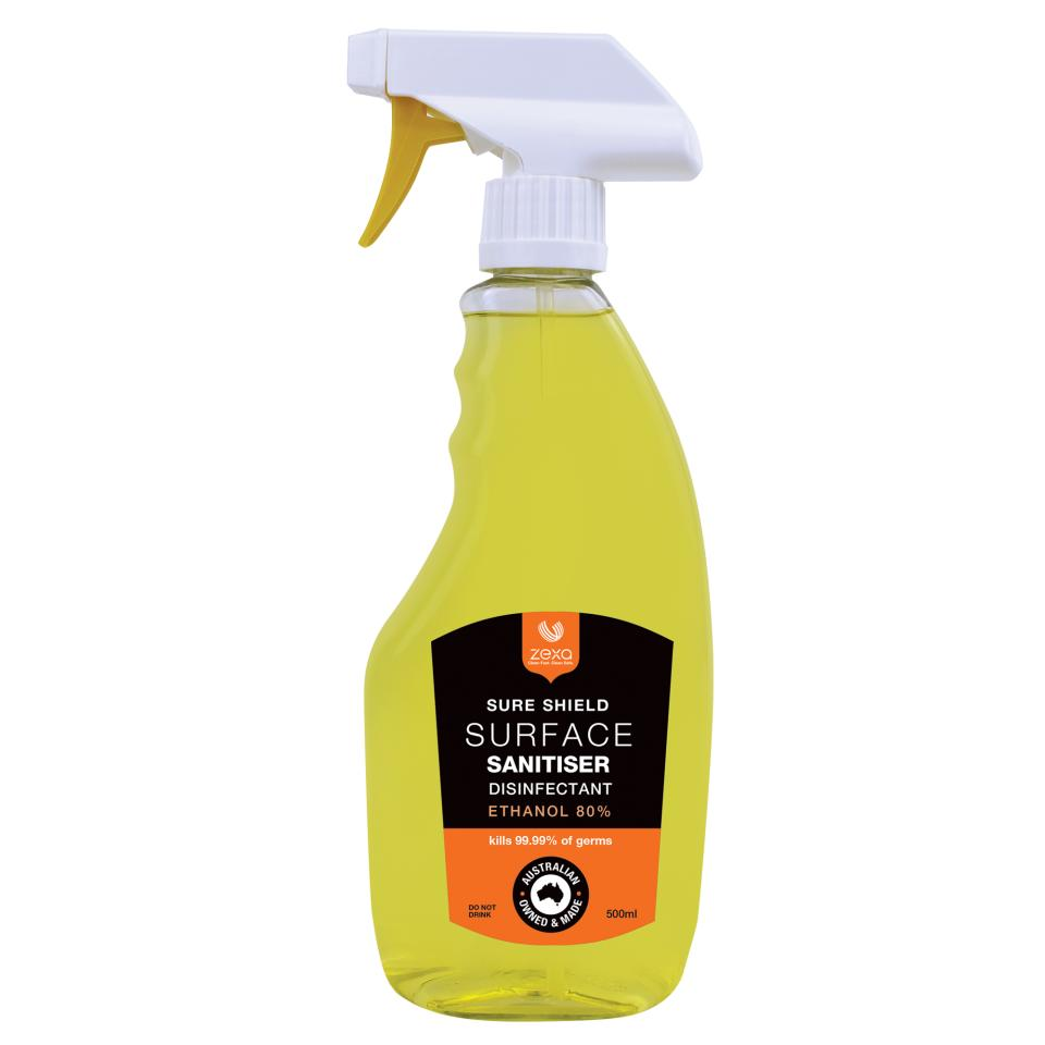 Zexa Sure Shield Surface Cleaner Disinfectant 80% Ethanol Spray 500ml