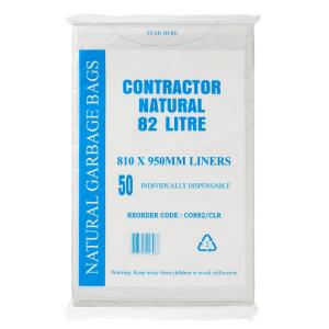 Austar Bin Liners Contractor Heavy Duty 82 Litre Natural Packet 50 Carton 250