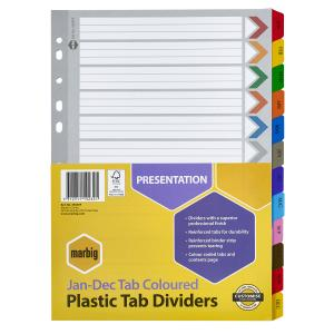 Marbig Dividers Manilla Plastic Coloured Tab A4 White Jan-Dec 12 Tab