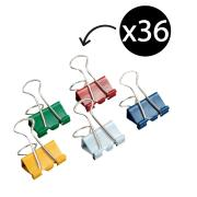 Winc Foldback Clips 19mm Assorted Colours Pack 36