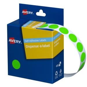 Avery Fluoro Green Circle Dispenser Labels - 14mm diameter - 700 Labels