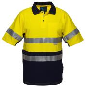 Prime Mover WW618A 100% Cotton Day Night Hi Vis Polo Shirt With Tape
