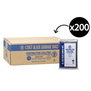 Austar Bin Liners Contractor Heavy Duty 120 Litre Black Packet 50 Carton 200