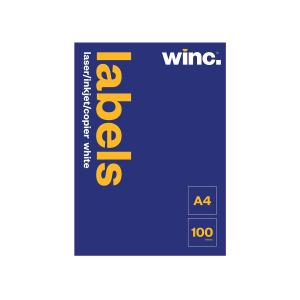 Winc Laser inkjet and copier Labels 210 x 297mm 1 LABEL/A4 Sheet 100 SHEETS/BOX