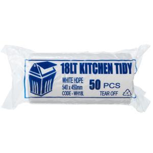 Austar Kitchen Tidy Bin Liners  450x540mm 18L White Roll 50 Carton 1000