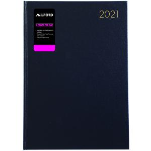 Milford 2021 Management Diary A4 2 Pages per Day Black
