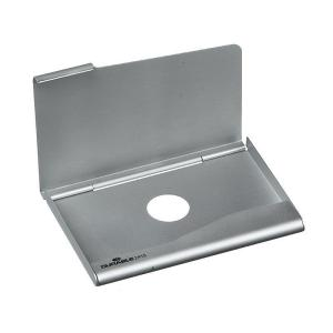 Durable Business Card Box 20 Capacity Silver Staples