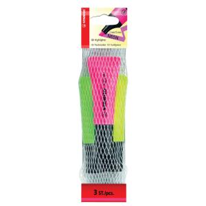 Stabilo Neon Highlighter Chisel Tip 2.0-5.0mm Assorted Colours Pack 3