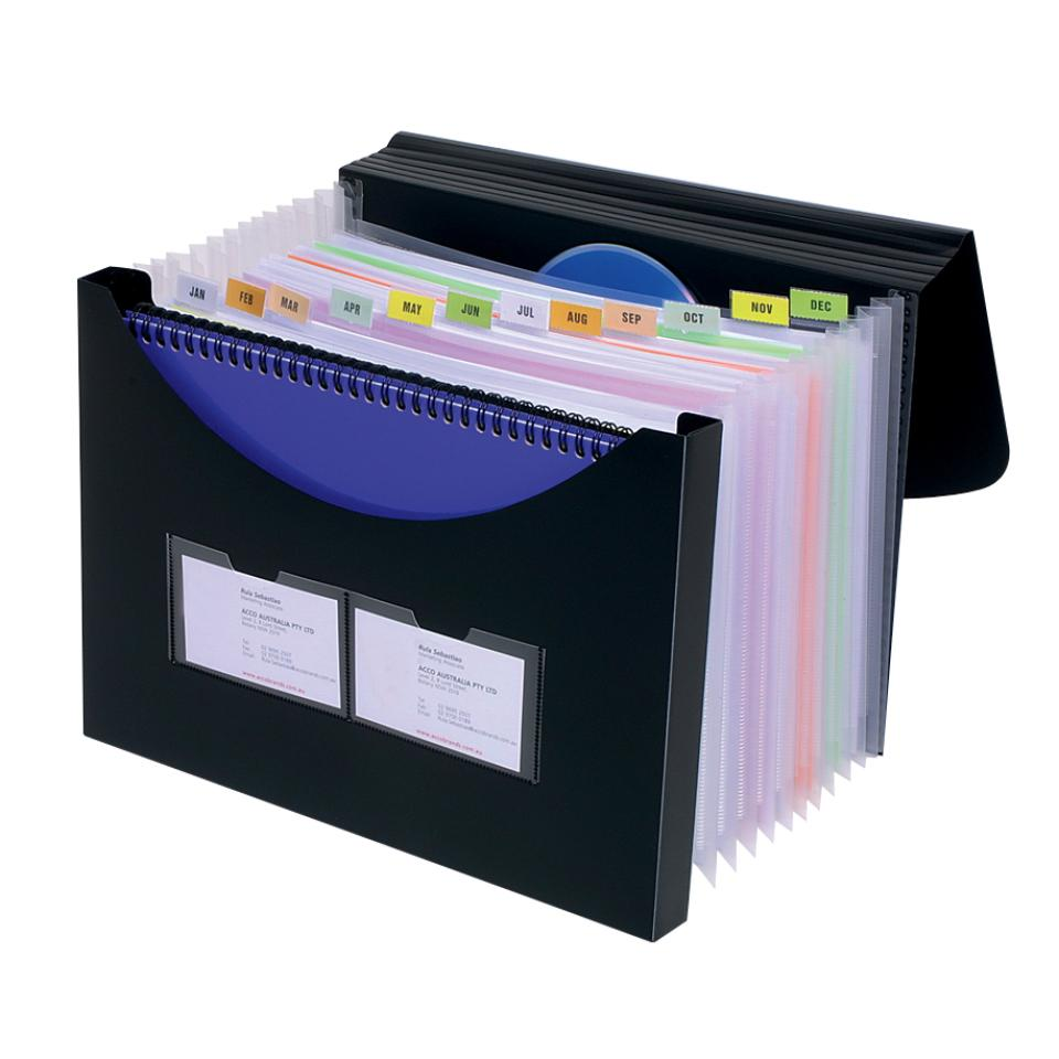 Marbig Expanding File With Storage Box 12 Pocket Black