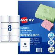 Avery Crystal Clear Shipping Labels for Laser Printers - 99.1 x 67.7mm - 200 Labels (L7565)