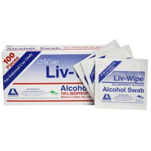 Liv-Wipe Mini Alcohol Swabs 65 X 30mm 70% Isopropyl Alcohol Individually  Packed Box 100