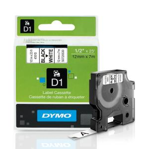 DYMO LABEL TAPE DYMO D1 12MMX7M PLASTIC BLACK ON WHITE PK2 ( EACH )