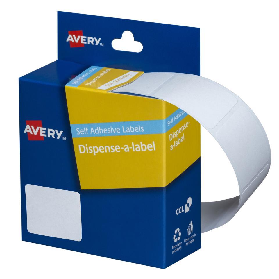 Avery White Rectangular Dispenser Labels - 30 x 19mm - 550 Labels - Hand writable