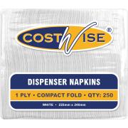 Costwise Compact Fold Dispenser Refill Napkin 1 Ply 225X240mm White Pack 250