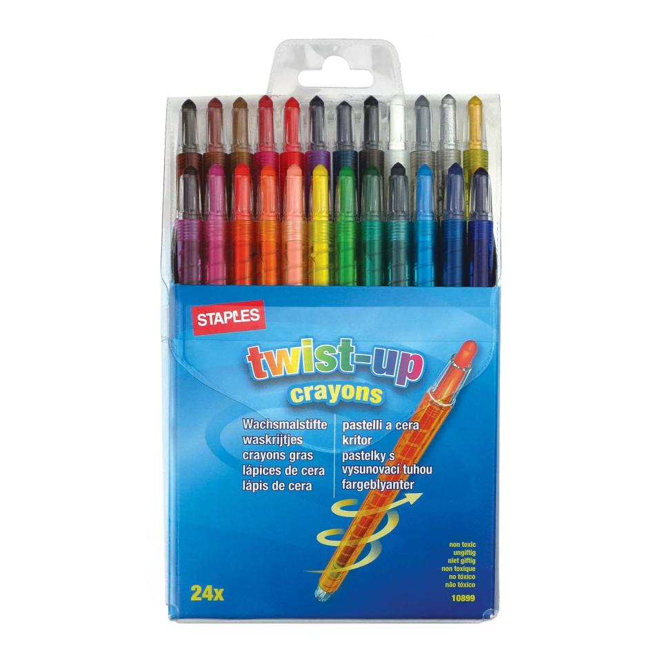 Staples Twist Crayon Assorted Colours Pkt 24