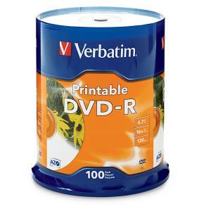 Verbatim Printable DVD-R 4.7 GB / 16x / 120 Min - 100-Pack Spindle