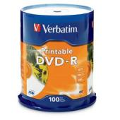 Verbatim Printable DVD-R 4.7 GB / 16x / 120 Min - 100-Pack Spindle