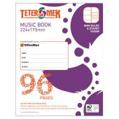 Teter Mek Music Book 224x175mm 8mm Ruled & Staves 56GSM 96 Pages