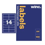 Winc Laser Labels 98x38mm 14 Per Sheet Pack of 100 Sheets